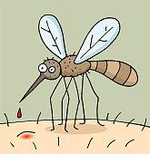 Hand drawn cartoon mosquito