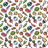 Hand drawn cartoon seamless pattern of food and kitchen stuff.