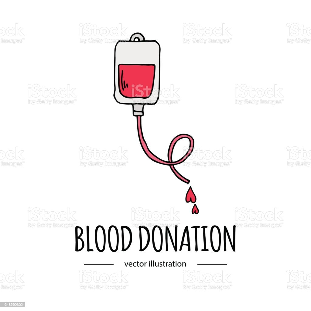 Dibujado a mano dibujos animados estilo doodle donación bolsa de sangre con icono de tubo. Icono de símbolo de donación con el corazón. Ilustración de vector de Doodle. Caridad donar dibujo logo elemento: corazón, amor, cuidado, ayuda, ayuda - ilustración de arte vectorial