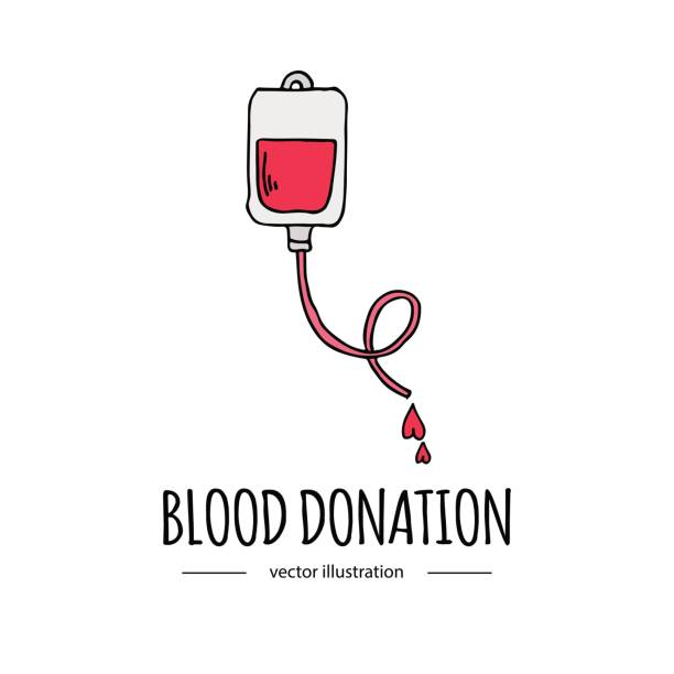 Hand drawn cartoon style doodle Blood donation bag with tube icon. Donation symbol icon with hearts. Doodle vector illustration. Charity donate sketch logo element: heart, love, care, help, aid vector art illustration