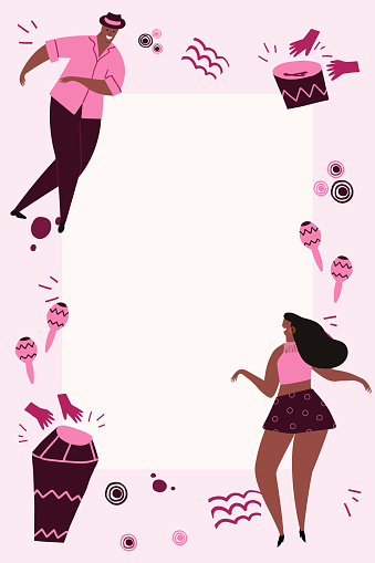 Hand drawn cartoon style vector illustration. Template with bongos, dancers and conga drums in pink colors. Design for card, flyer, invitation with space for text.