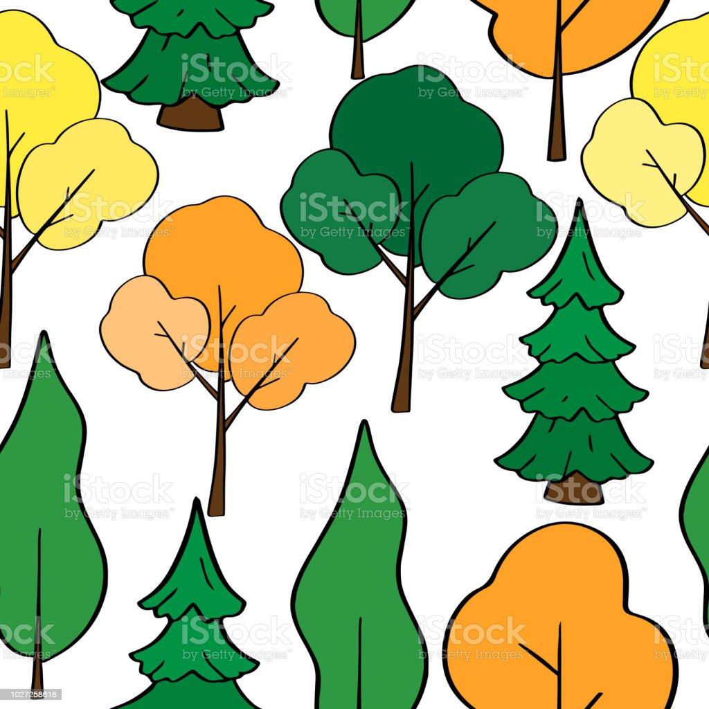 手描き漫画木シームレス パターンです白い背景の異なる木のベクトルの森