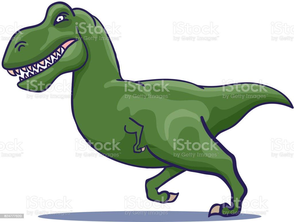Hand Drawn Cartoon Tyrannosaur running. Vector vector art illustration