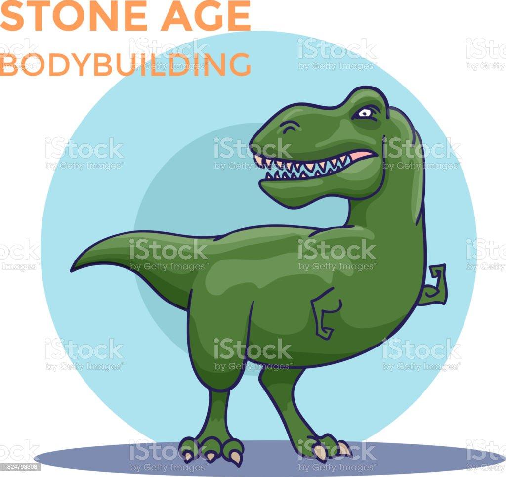 Hand Drawn Cartoon Tyrannosaur shows his biceps. Vector vector art illustration