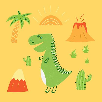 Hand drawn cartoon vector illustration of cute dinosaur, volcano, sun. T-shirt design for child and baby boys.