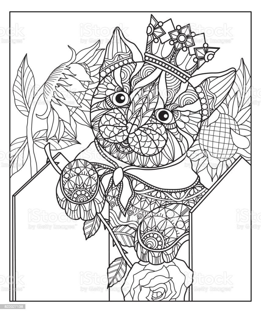 Coloring Pictures Of Sunflowers. Hand drawn cat and sunflowers for adult coloring page  royalty free hand Drawn Cat And Sunflowers For Adult Coloring Page Stock Vector