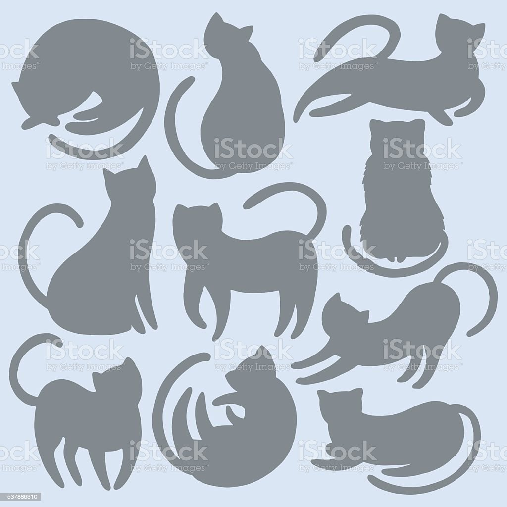 Hand drawn cat silhouette set vector art illustration