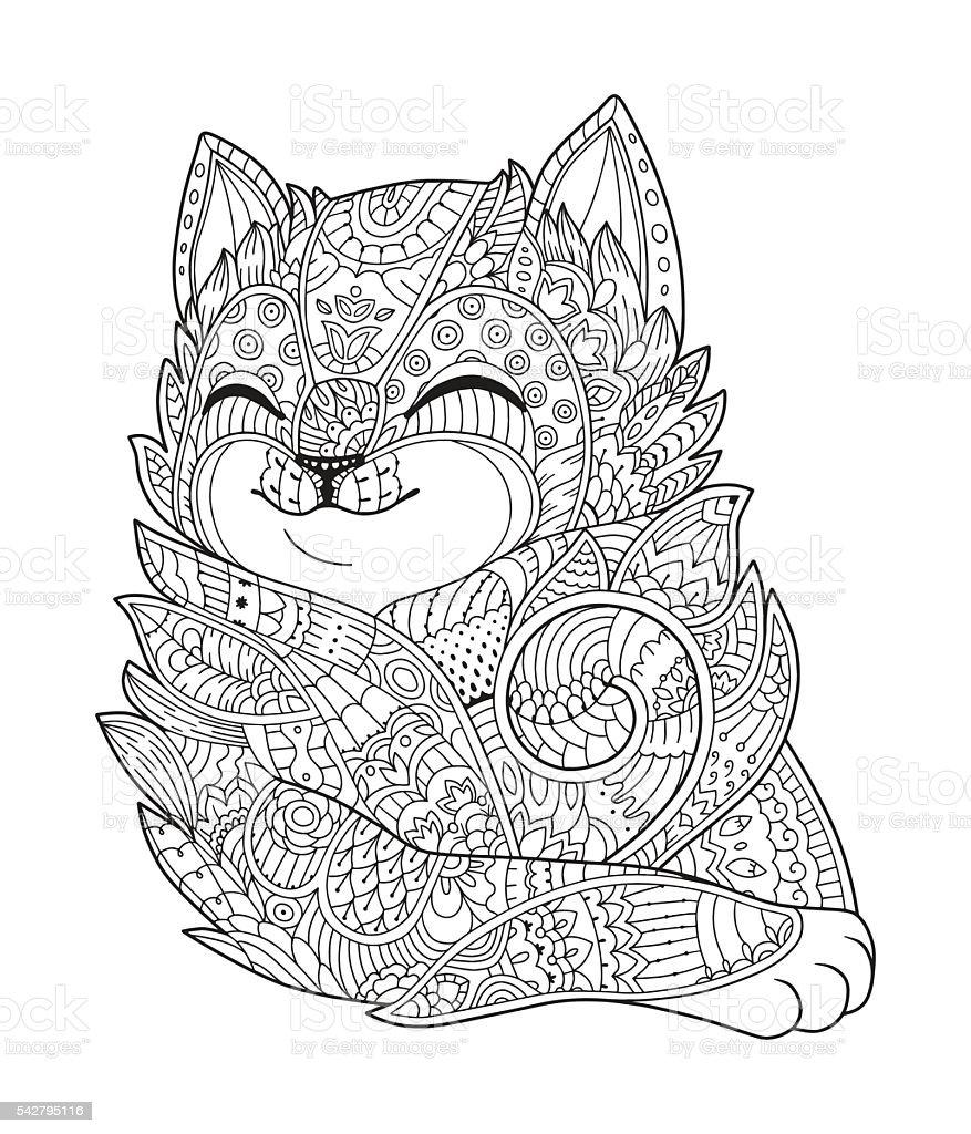 Gatto disegnato a mano libera pagina da colorare per - Animale domestico da colorare pagine gratis ...