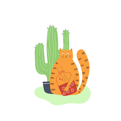 Hand drawn cat with big jar of strawberry jam and cactus. Flat illustration for nursery design.