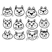 Hand drawn cats on  white background. Vector sketch  illustration.
