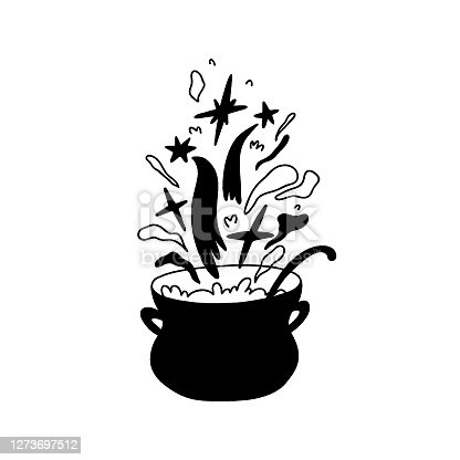 istock Hand drawn cauldron with boiling magic substance. Stars fly out of the pan, magic, steam rises. Doodle casserole with ladle cook. Vector stock isolated illustration. 1273697512