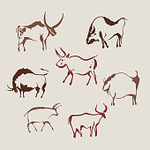 Hand drawn collection of cave animals bulls. The symbol of the Chinese New Year. Sumi-e painting. Vector illustration