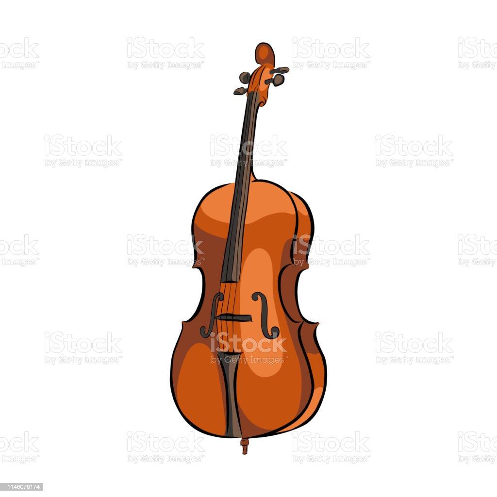 Ilustracion De Instrumento Musical Cello Dibujado A Mano Y