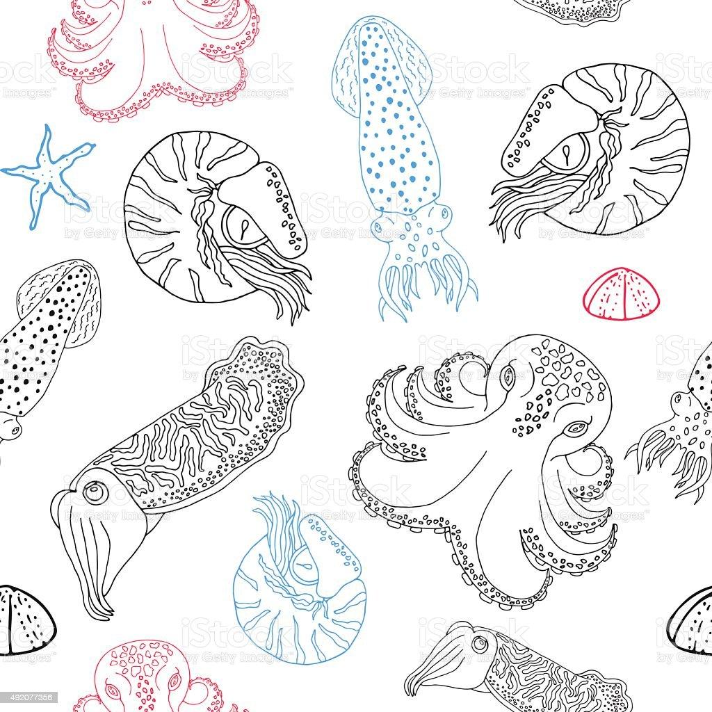 Ilustración de Cephalopods Dibujados A Mano Patrón Sin Costuras y ...