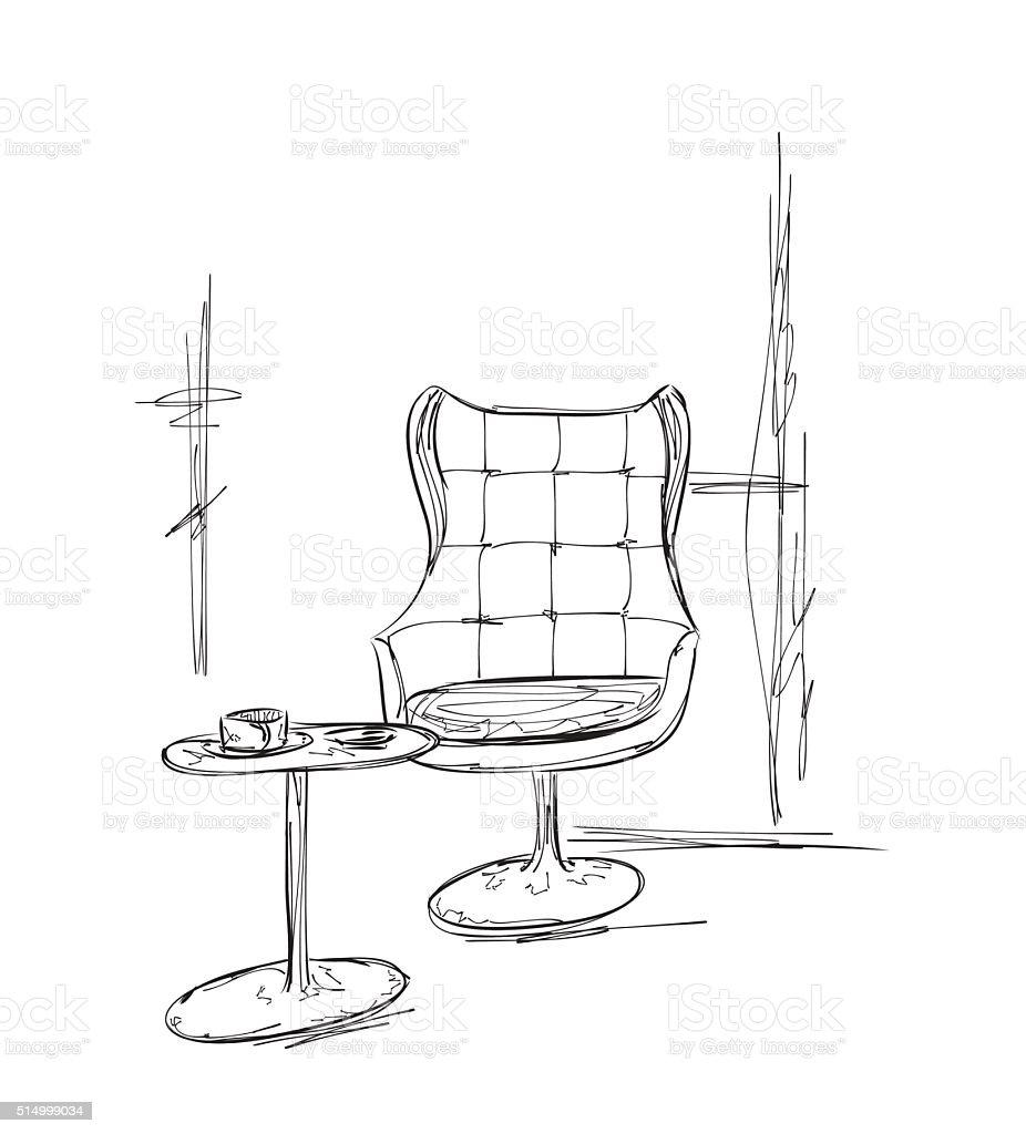 Handgezeichnet Tisch Und Stuhl Cafe Skizze Stock Vektor Art