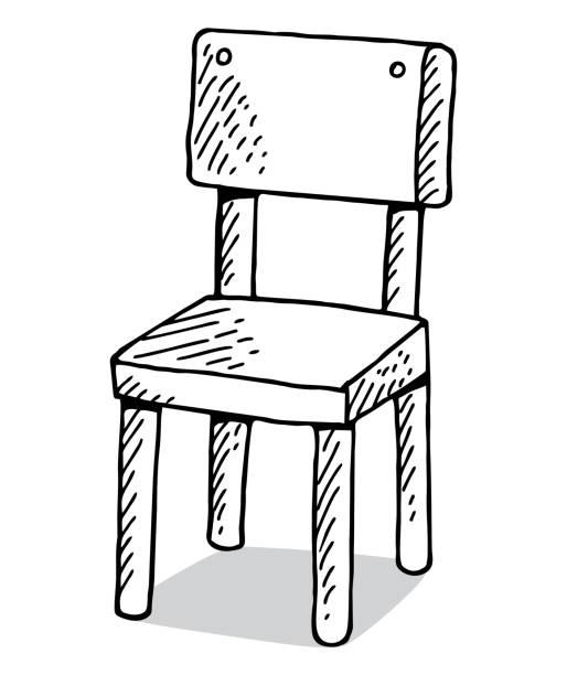 hand gezeichnet stuhl - stuhllehnen stock-grafiken, -clipart, -cartoons und -symbole