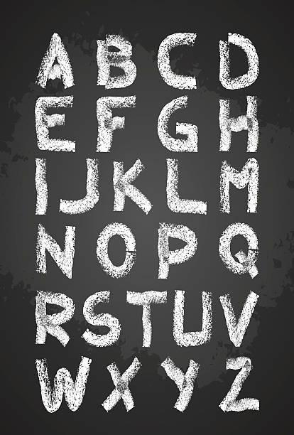 Hand drawn Kreide alphabet Vektor, Großbuchstaben, in schoo – Vektorgrafik