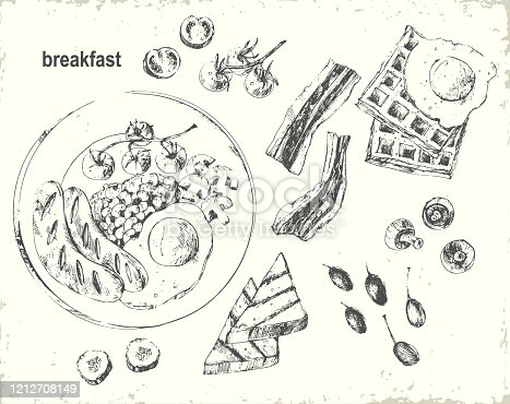 istock Hand drawn chalk breakfast menu illustration 1212708149