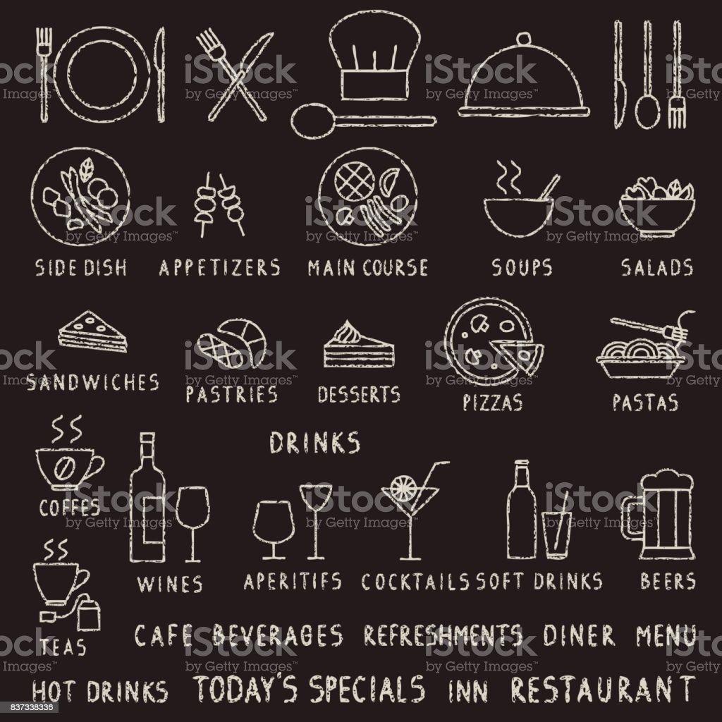 手書き黒板チョーク ストローク レストラン アウトライン ベクトル アイコン ベクターアートイラスト