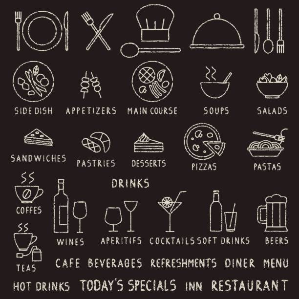 illustrazioni stock, clip art, cartoni animati e icone di tendenza di hand drawn chalk stroke restaurant outline vector icons on blackboard - aperitivo
