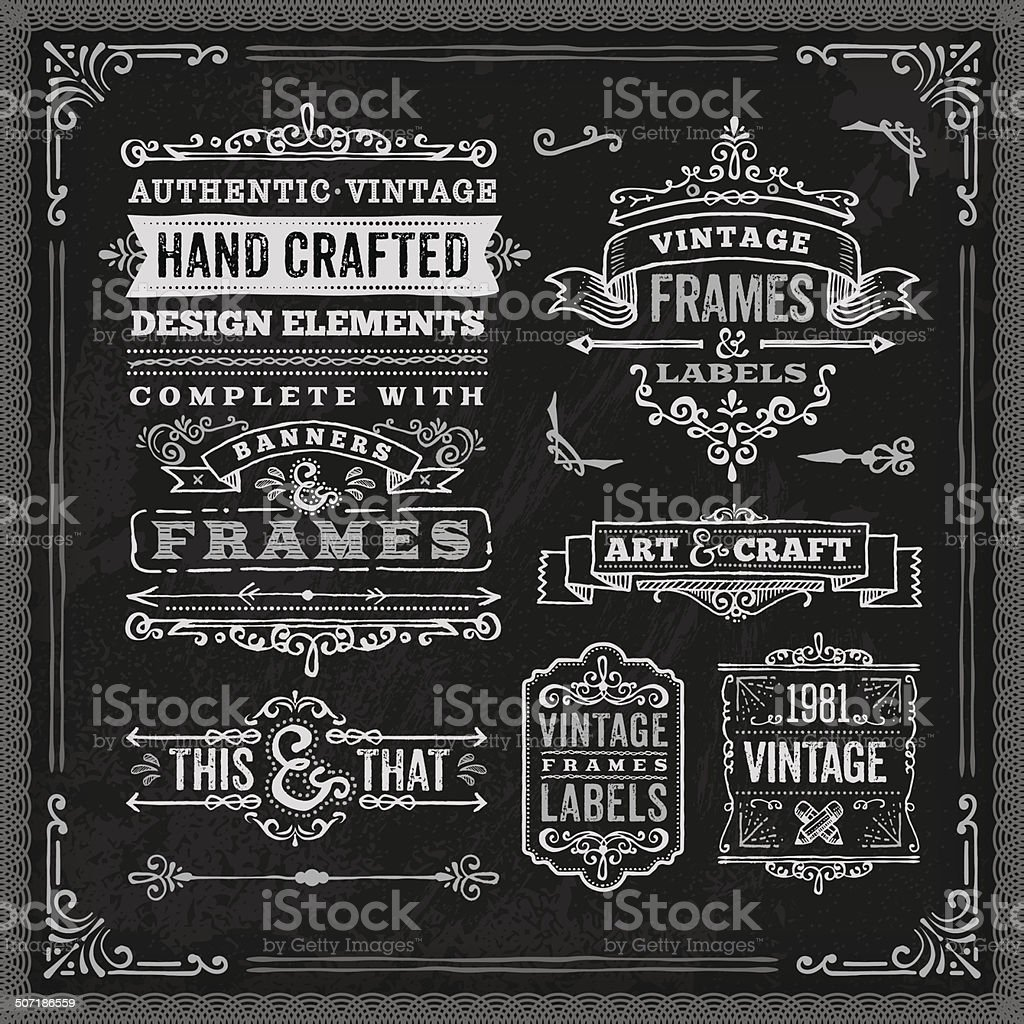 Hand Drawn Chalk Vintage Label Set vector art illustration