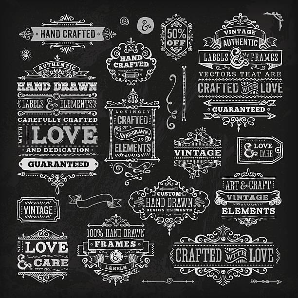stockillustraties, clipart, cartoons en iconen met hand drawn chalk vintage label set - borden en symbolen