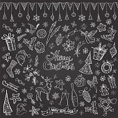 "Set of vector illustration icons in black and white showing various christmas elements, with lettering ""merry christmas"" in the middle. Flag garland is seamless."