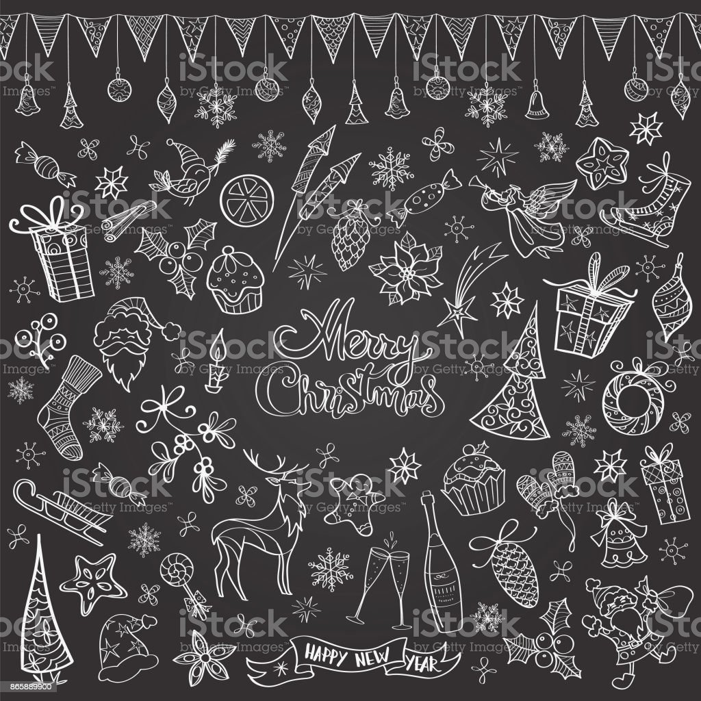 Doodles Noël tableau dessiné à la main - Illustration vectorielle