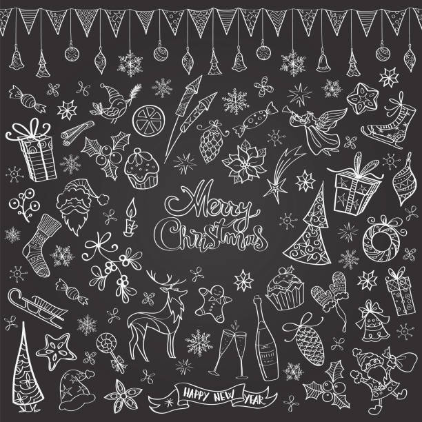 hand drawn chalkboard christmas doodles - birds calendar stock illustrations, clip art, cartoons, & icons
