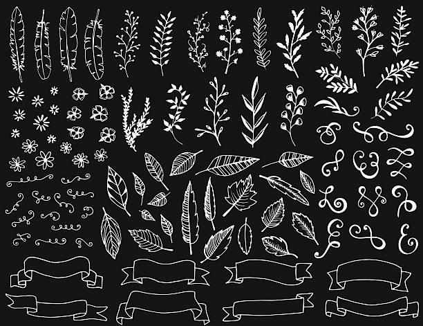 Hand drawn chalkboard design elements vector art illustration