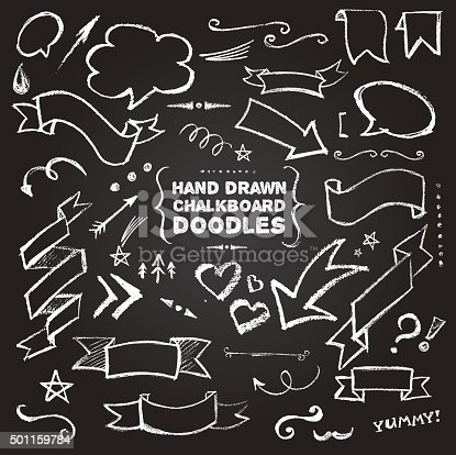 Hand Drawn Chalkboard Doodles including bubbles, arrows, banners, decorative elements on black background