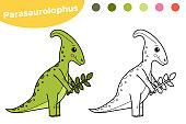 Hand drawn character dinosaur Parasaurolophus.