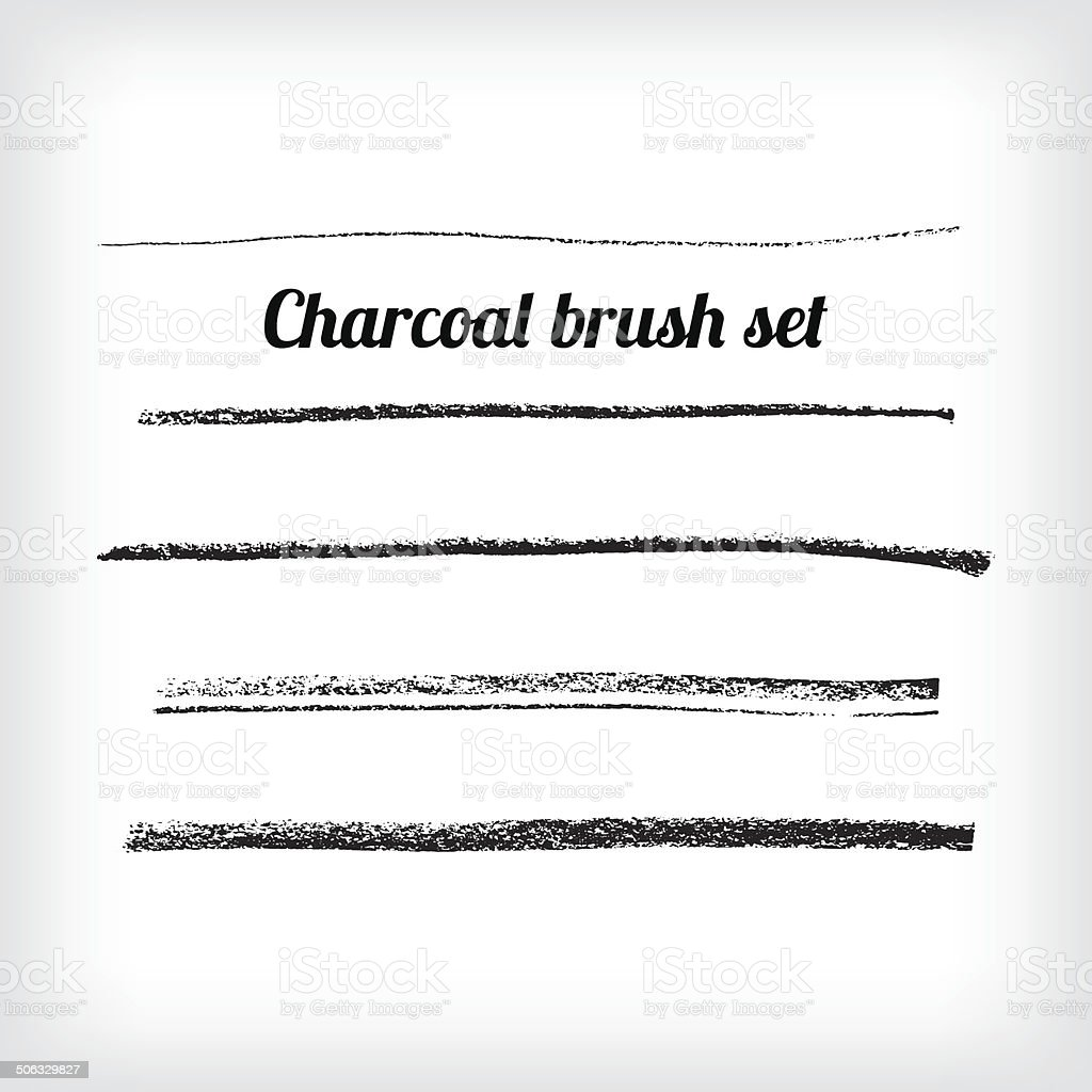 Hand drawn charcoal brush set. Scalable grunge vector vector art illustration