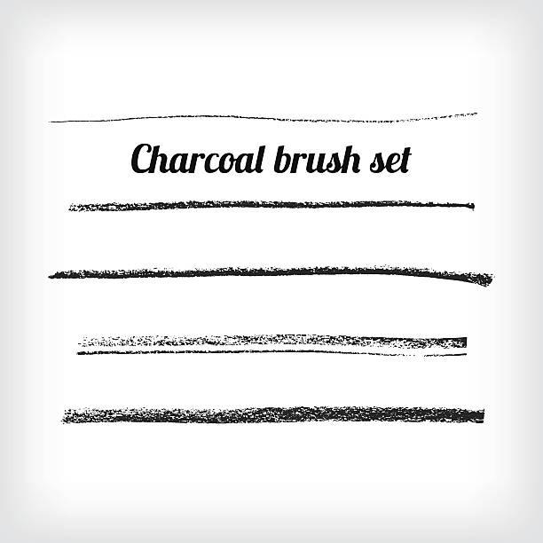 Zeichnung Holzkohle-PINSEL-set.  Skalierbare grunge Vektor – Vektorgrafik
