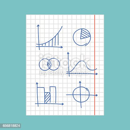 Hand Drawn Charts And Graphs On Squared Paper Flat Editable Vector ...