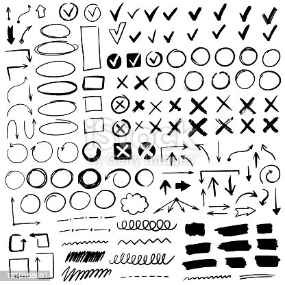 Hand drawn check signs. Doodle black check quality marks and underlines, cross, circles, arrow mark for list items, yes or no checklist vector checkmark icons