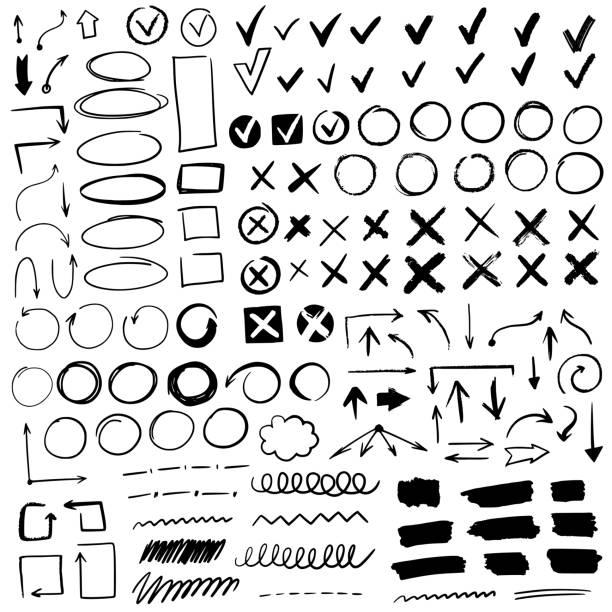 ilustrações, clipart, desenhos animados e ícones de sinais de verificação desenhados à mão. doodle v marca para itens de lista, ícones de giz de caixa de seleção e marcações de esquetes. lista de verificação vetorial marca conjunto de ícones - rabisco desenho