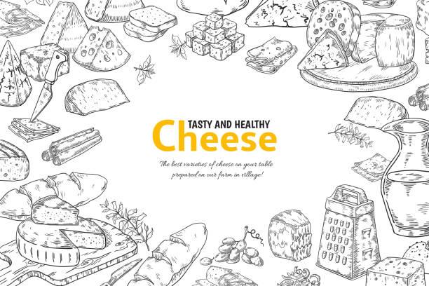 bildbanksillustrationer, clip art samt tecknat material och ikoner med handritad ostbakgrund. ekologisk italiensk mat och snacks skiss, restaurangmeny design. vektor bord med produkter - cheese sandwich