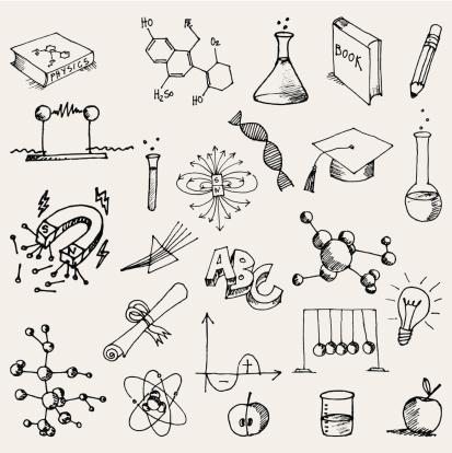 Hand Zeichnen Chemie Und Physik Kritzeleien Stock Vektor