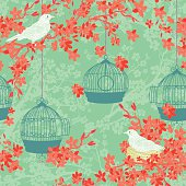 Hand Drawn Cherry Blossoms And Birds Tree Background Pattern