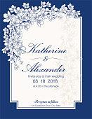 Hand Drawn Cherry Blossoms Wedding Invitation Template. detailed ornate flowers on simple elegant frames.