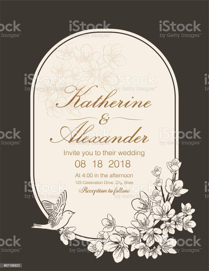 Hand Drawn Cherry Blossoms Wedding Invitation Template Stock Vector