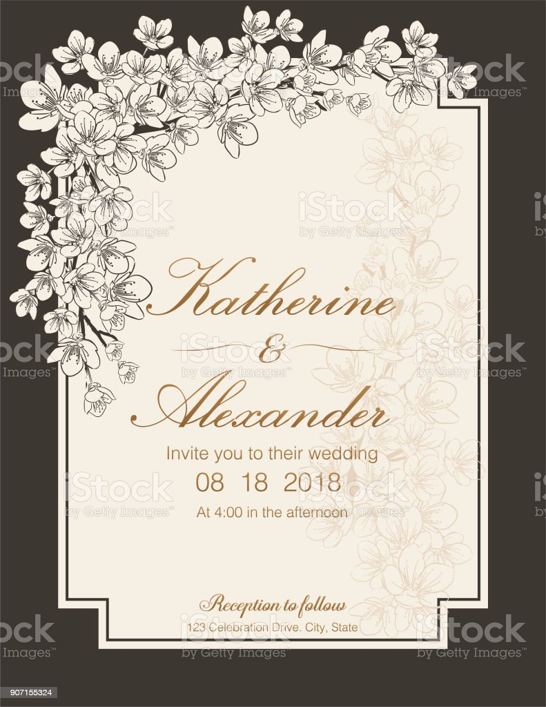 Hand Drawn Cherry Blossoms Wedding Invitation Template vector art illustration
