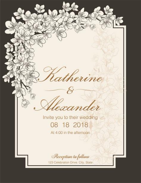 ilustrações de stock, clip art, desenhos animados e ícones de hand drawn cherry blossoms wedding invitation template - cherry blossoms