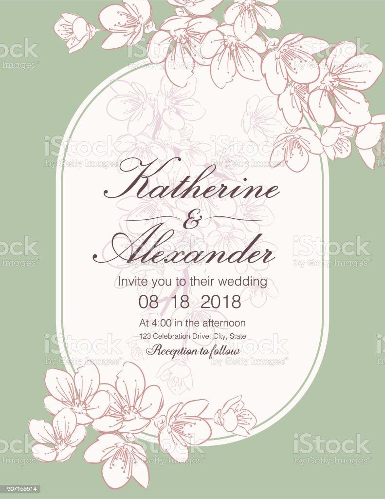 Hand Drawn Cherry Blossoms Wedding Invitation Template stock ...