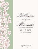 Hand Drawn Cherry Blossoms Wedding Invitation Template