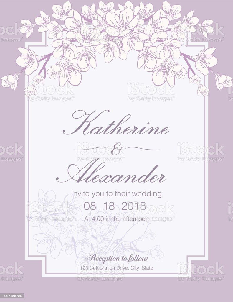 Hand Drawn Cherry Blossoms Wedding Invitation Template Stock Vector ...