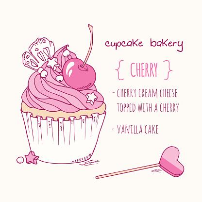 Hand drawn cherry cupcake