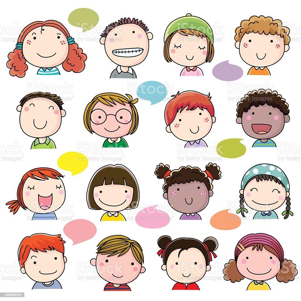 Assez Set Di Disegno A Mano Bambini Facce Illustrazione 499806332 | iStock TC38