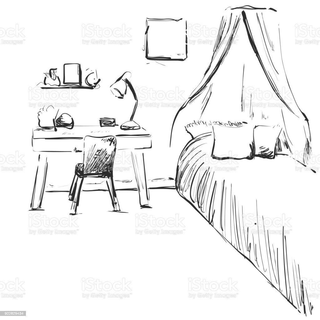 Hand Drawn Children Room Furniture Sketch Baby Bed Stock